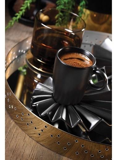 Kütahya Porselen Adora Kahve Takımı Siyah Siyah